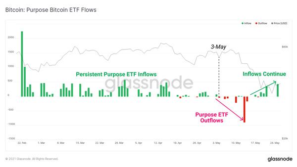 نمودار جریانات صندوق قابل معامله (ETF) بیت کوین پرپس. منبع: گلسنود