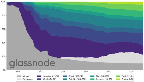 توزیع تقریبی بیت کوین در شبکه این رمزارز