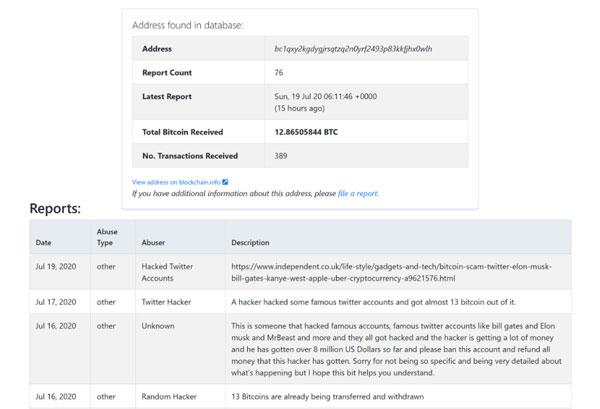 نتیجه جستجو آدرس والت (bc1qxy2kgdygjrsqtzq2n0yrf2493p83kkfjhx0wlh) که در کلاهبرداری بیت کوین در هک اخیر توییتر استفاده شد.