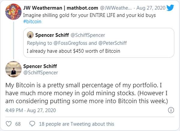 اسپنسر اسکیف (Spencer Schiff) اخیرا گفته است که چند هفته پیش ۴۵۰ دلار بیتکوین خریده است