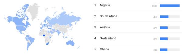 کشورهایی که بیشترین جستجوی کلمه بیت کوین را دارند   همتاپی