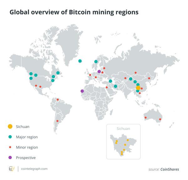 نقشه جهانی مناطقی که بیت کوین استخراج میکنند | همتاپی