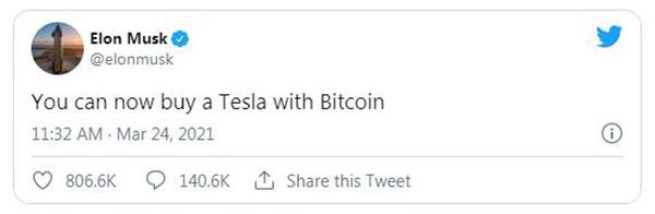 ایلان ماسک اعلام کرد که هم اکنون میتوان خودروهای تسلا را با استفاده از بیت کوین (BTC) خریداری کرد | همتاپی