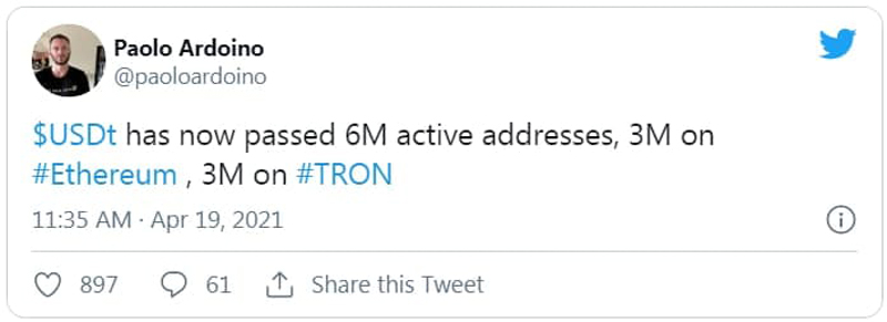 تعداد آدرسهای فعال USDT از 6 میلیون آدرس فراتر رفته است | همتاپی