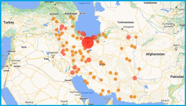 موقعیتهای مکانی حاصل از درخواستهای IP ایرانی در بلاک چین. بیشتر مراکز در اطراف تهران فعالیت دارند.