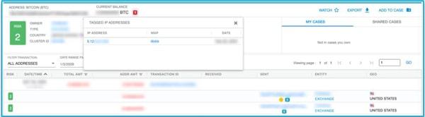 نمونهای از آدرس بیت کوین مرتبط با IP ایرانی که به صرافی بزرگ ایالات متحده دسترسی دارد