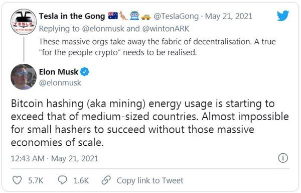 توییت ایلان ماسک در مورد بیتکوین در تاریخ 21ام ماه مه
