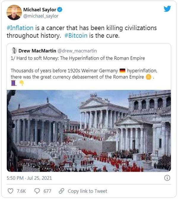 توییت اخیر مایکل سیلور در مورد بیت کوین در تاریخ 25ام ژوئیه